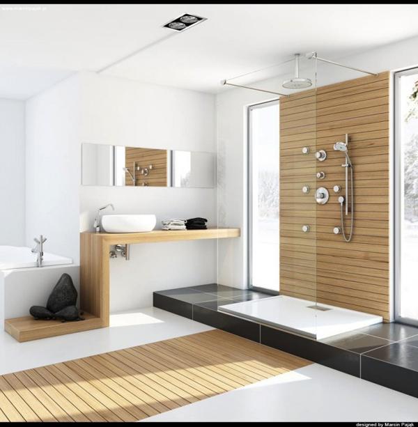 Modern bathroom with unfinished wood 700x715 Dizajnerska remek dela: Kupatilo i(li) spa