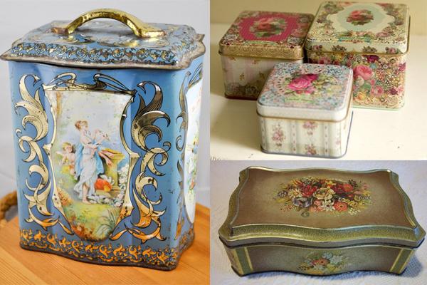 Starinske pohabane kutije sa motivima prirode Retro posude za čuvanje slatkiša