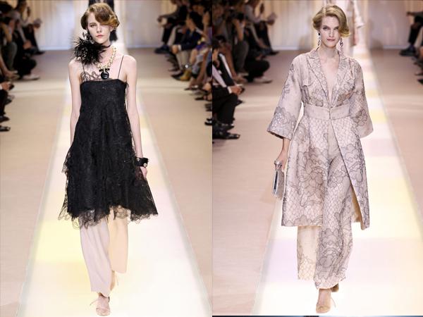 crna haljina i pastelni kompelt sa crnom cipkomslika3 Jesen na modnim pistama: Armani Prive