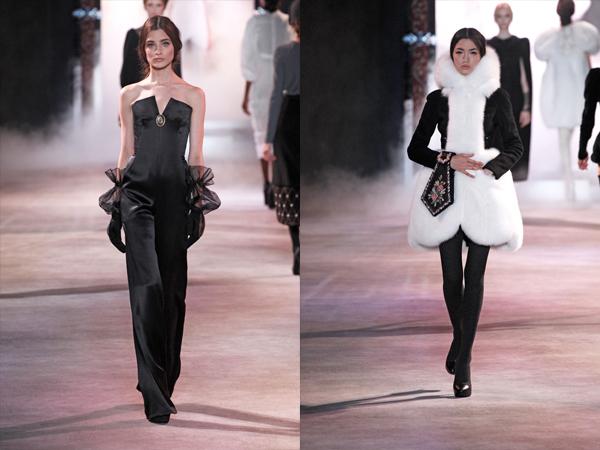 crni kombinizon i crna haljina sa belim krznom slika2 Jesen na modnim pistama: Ulyana Sergeenko