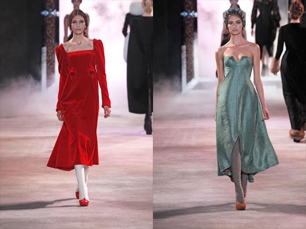 crvena i sivo zelena haljina slika3 Jesen na modnim pistama: Ulyana Sergeenko
