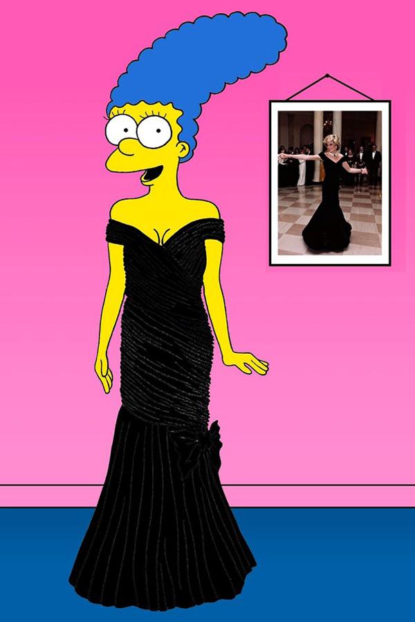 Catherine Walker Lady Diana vogue 19nov13 aleXsandro Palombo b 592x888 Nova modna ikona: Marge Simpson