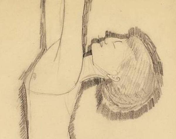 Modiljani crtež olovkom Ane Ahmatove Anna Akhmatova, pola vila   pola đavo, kupa se na plaži u carskome selu (2. deo)
