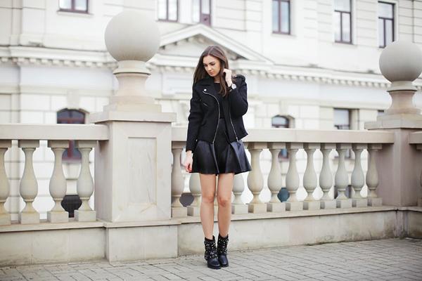 biker jacket leather dress 10 odevnih kombinacija: Nika Huk