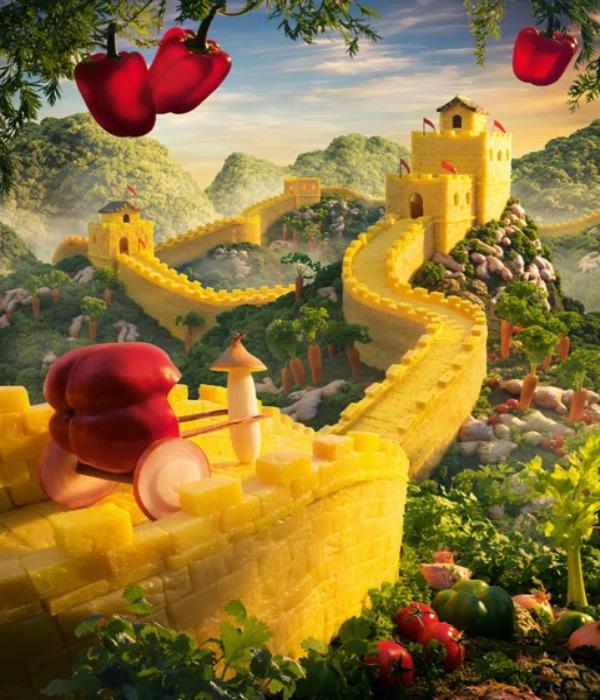 Kineski zid od ananasa Brokoli kralj, Carl Warner