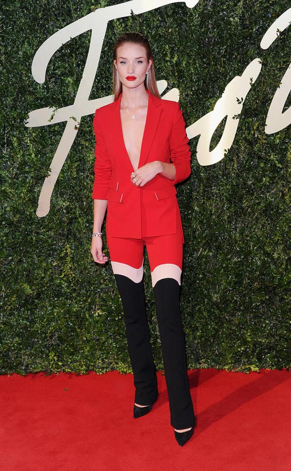 Rosie Huntington Whiteley dared bold red ensemble thigh high boots Fashion Police: British Fashion Awards 2013