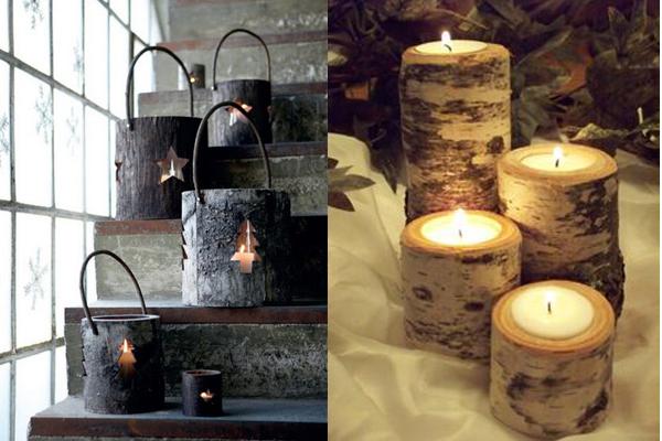 Svecnaci od panjeva i kore breze Praznični ambijent: Najlepše dekoracije sa svećama