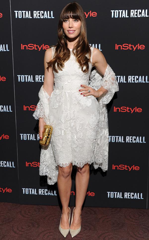 jessica biel total recall premiere dress Obuci trend: Bele haljine