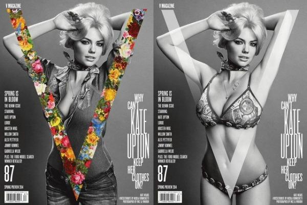 """Dve naslovne strane časopisa V sa Kejt Modni zalogaj: Kate Upton za časopis """"V"""""""