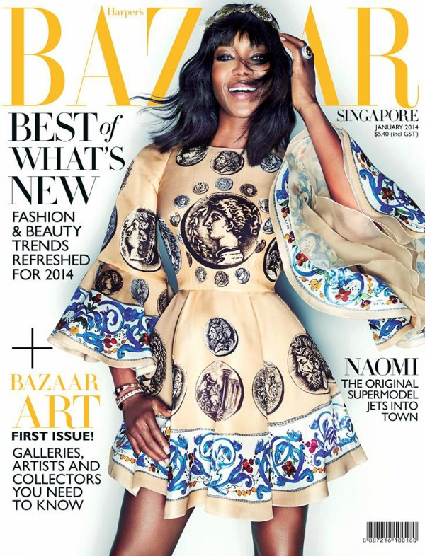 Naomi sija u haljini brenda Dolce  Gabbana Modni zalogaj: Naomi Campbell za Harpers Bazaar Singapore