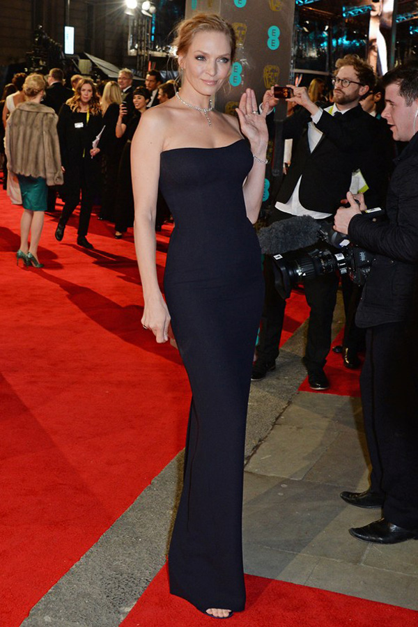 uma thurman vogue 16feb14 pr getty b 592x888 Fashion Police: BAFTA Awards