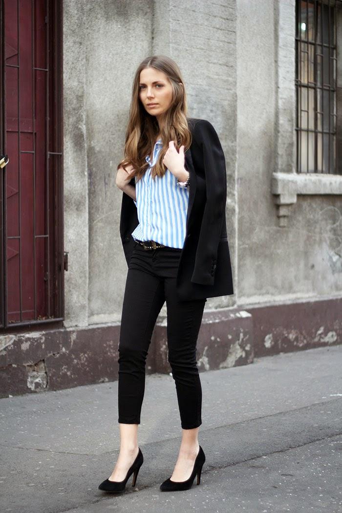vanja fashion and style blog zara blazer mango shoes stripped shirt Modne blogerke: Najbolji modni stil nedelje