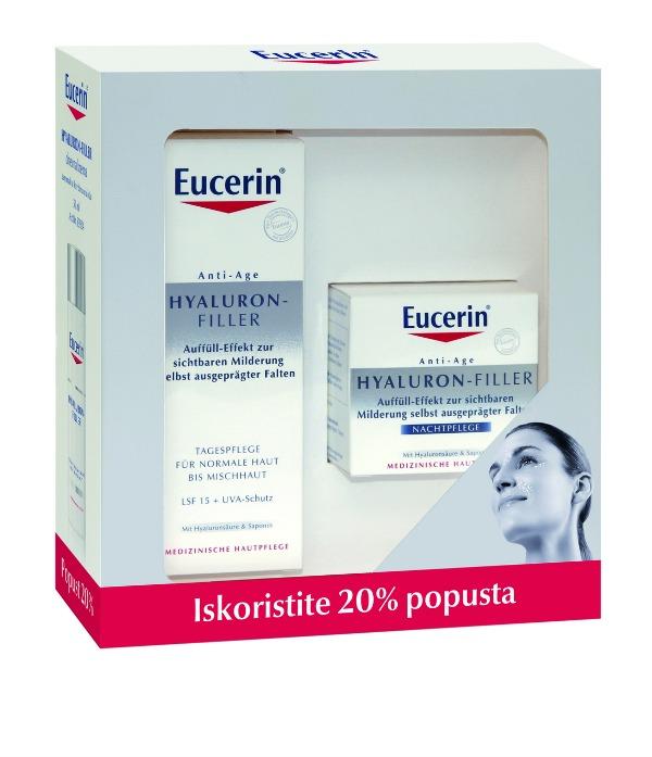 za normalnu kožu + noćna1 Eucerin® Hyaluron Filler komplet po posebnoj ceni