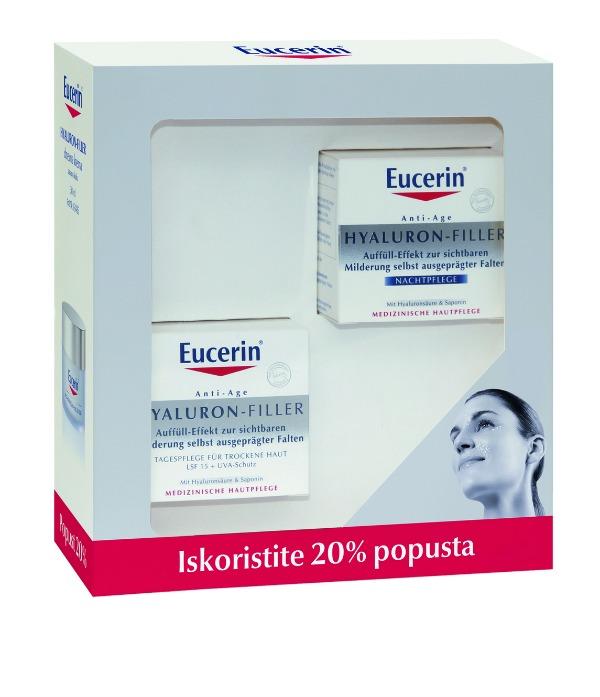 za suvu kožu + noćna2 Eucerin® Hyaluron Filler komplet po posebnoj ceni
