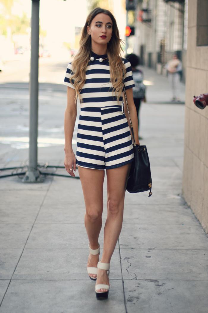 STRIPED JUMPSUIT  Modne blogerke: Najbolji modni stil nedelje
