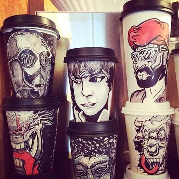 coffee cups 6 Najinteresantniji crteži na kafama