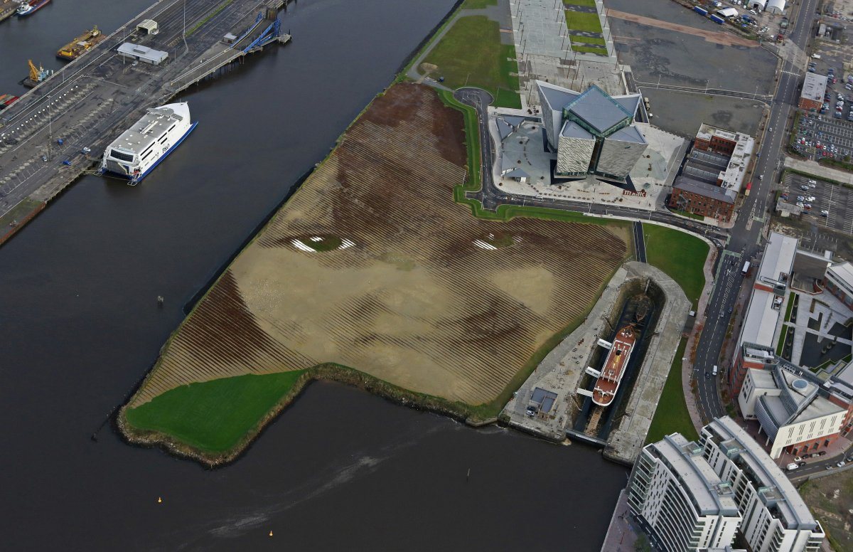 cuban american artist jorge rodriguez gerada used of 2000 tons of sand 2000 tons of soil and about 30000 wooden pegs to create the face of an anonymous 6 year old local belfast girl on an 11 acre piece of land art 1 Umetnost je kul: Performansi, skulpture i ostala čuda
