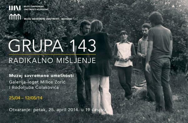 e pozivnica Kultura pre svega: Grupa 143 – Radikalno mišljenje u muzeju savremene umetnosti