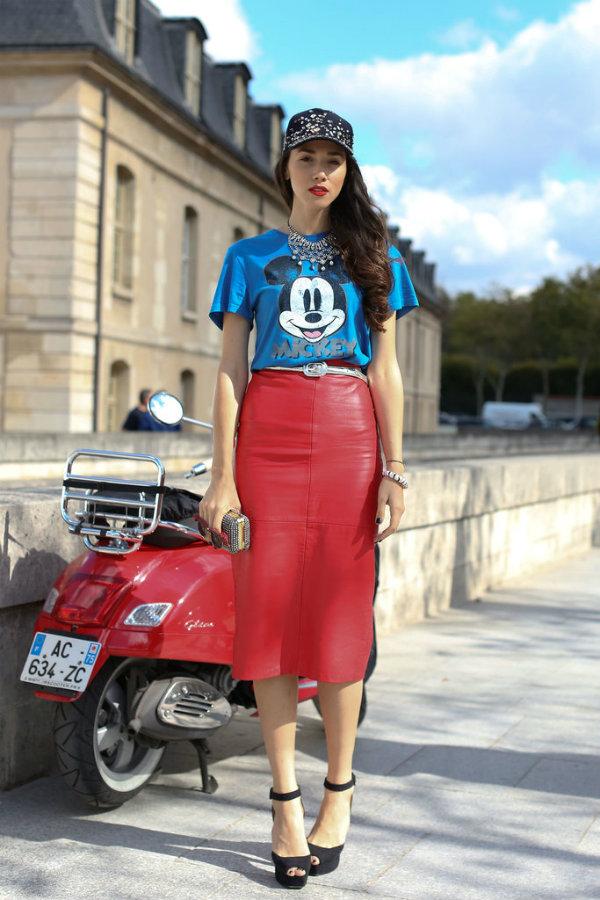 mickey tee street style Street Style: Uska suknja