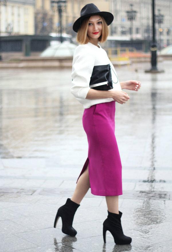 white jackets fuchsia skirtslook main single Street Style: Uska suknja