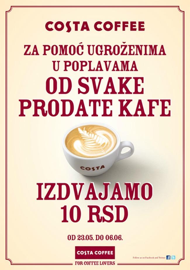 costa donacija poplava FB Costa Coffee akcija: Od svake prodate kafe 10 dinara za ugrožene