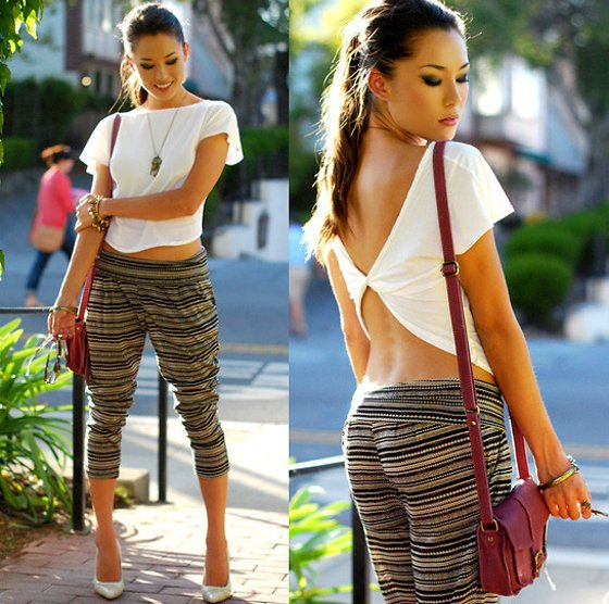 embedded harem style capri pants Kako da nosite: Kapri pantalone