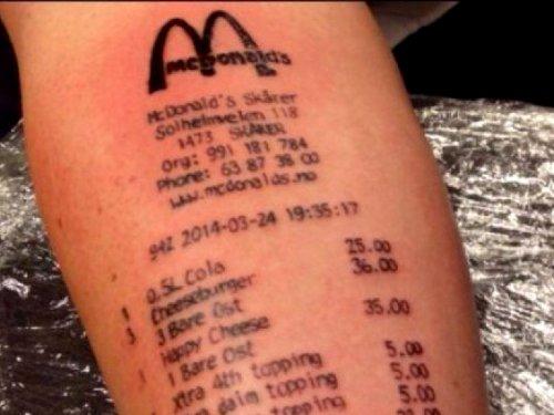 embedded mcdonalds receipt tattoo Promašaj nad promašajima: Najgore tetovaže
