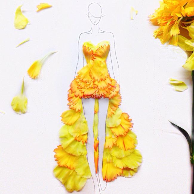 01 Grace Choi ilustracije Moda i umetnost: Haljine od pravog cveća