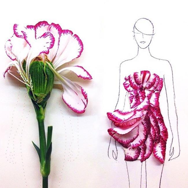 02 Grace Choi ilustracije Moda i umetnost: Haljine od pravog cveća