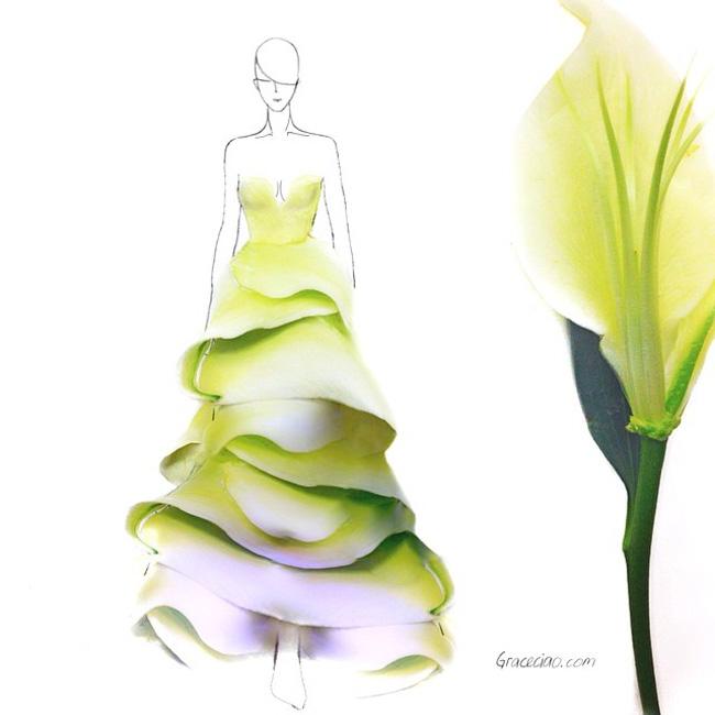 03 Grace Choi ilustracije Moda i umetnost: Haljine od pravog cveća