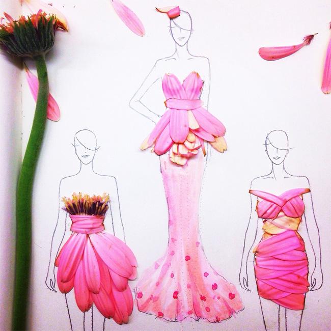 04 Grace Choi ilustracije Moda i umetnost: Haljine od pravog cveća