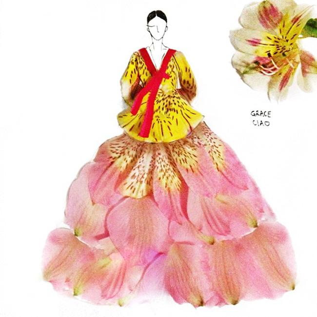 05 Grace Choi ilustracije Moda i umetnost: Haljine od pravog cveća