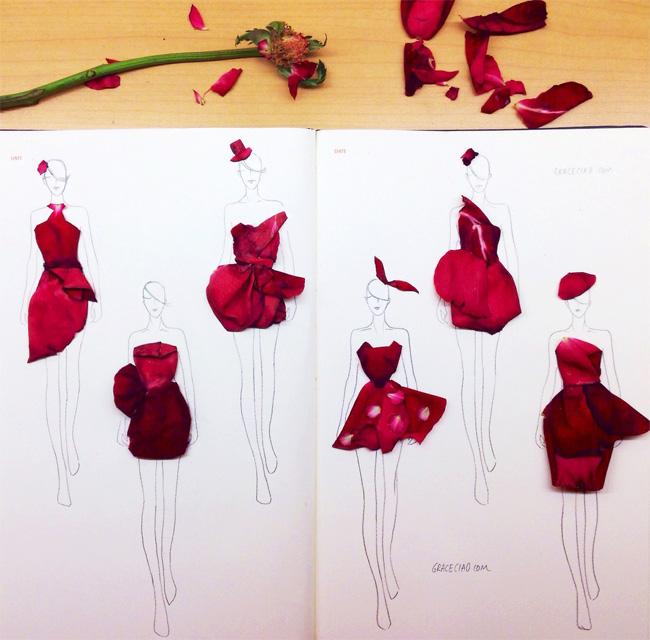 06 Grace Choi ilustracije Moda i umetnost: Haljine od pravog cveća
