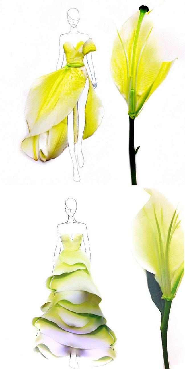 03 Modne skice od latica Sve je to umetnost: Modne ilustracije napravljene od latica cveća