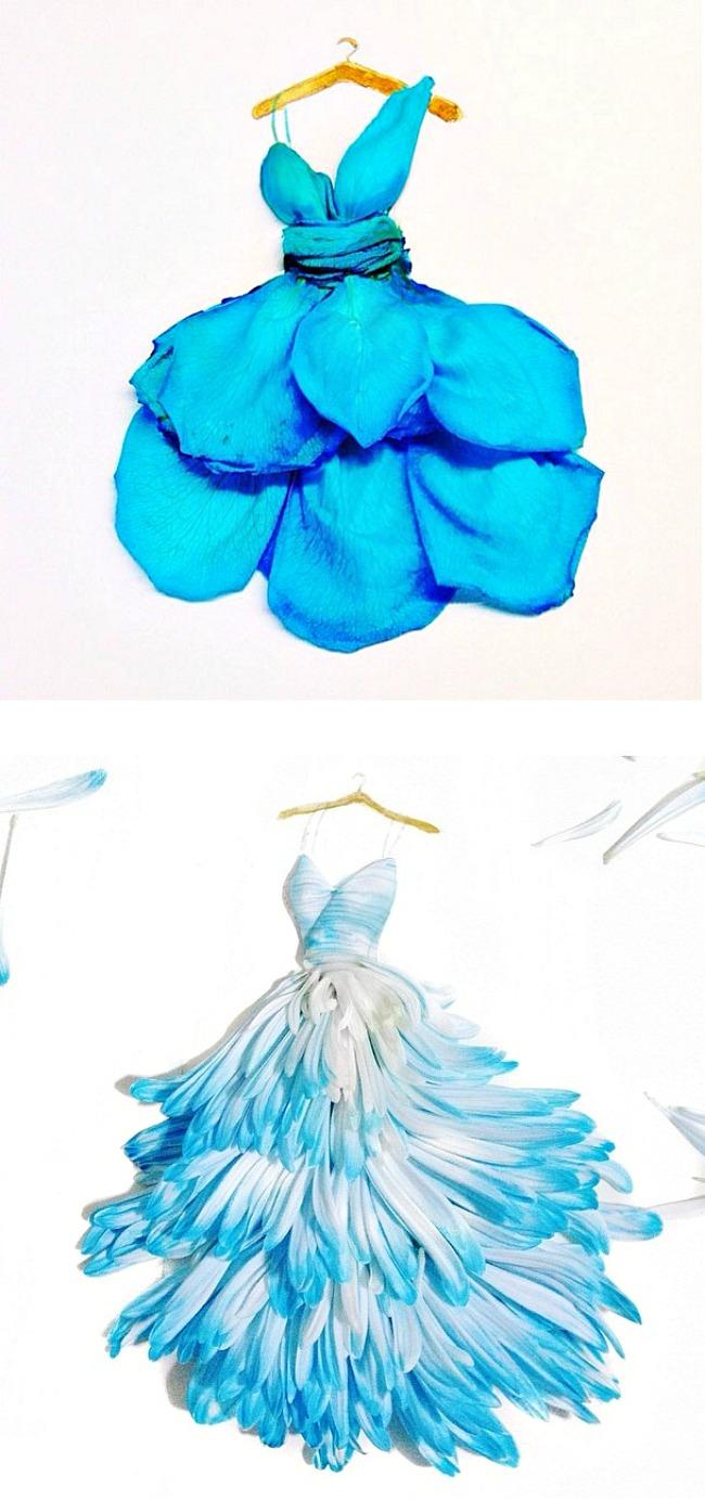 05 Modne skice od latica Sve je to umetnost: Modne ilustracije napravljene od latica cveća