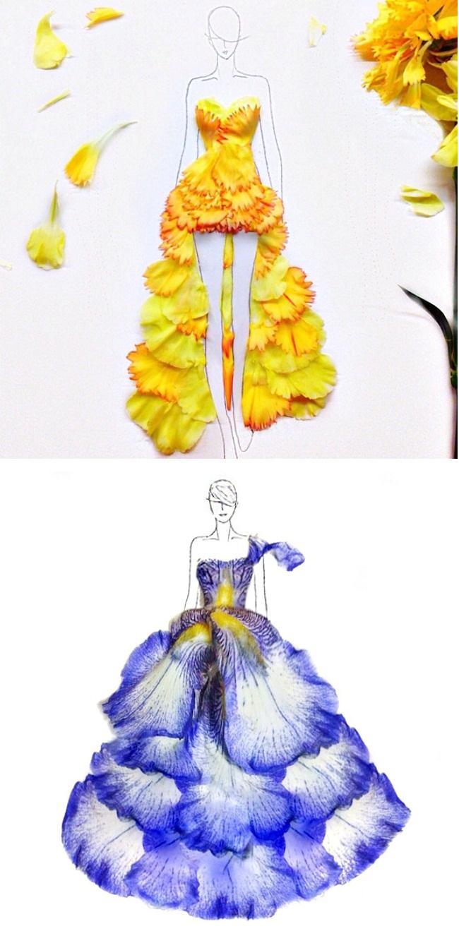 07 Modne skice od latica Sve je to umetnost: Modne ilustracije napravljene od latica cveća