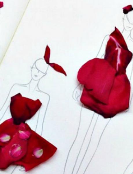 Sve je to umetnost: Modne ilustracije napravljene od latica cveća