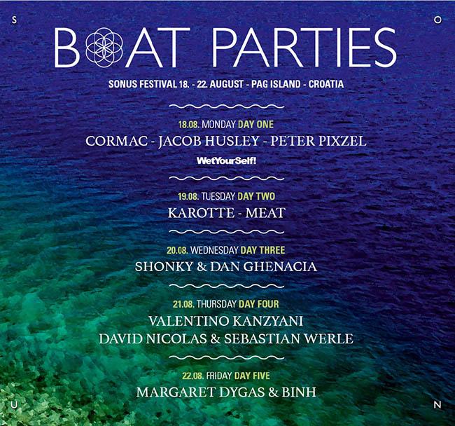 Timetable boat parties Boat žurke na Sonus festivalu