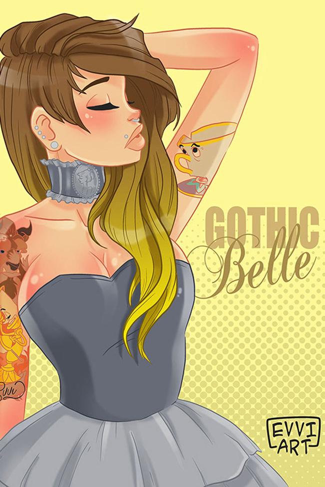 dizni princeza bela hipster ilustracija Diznijeve princeze su postale hipsterke