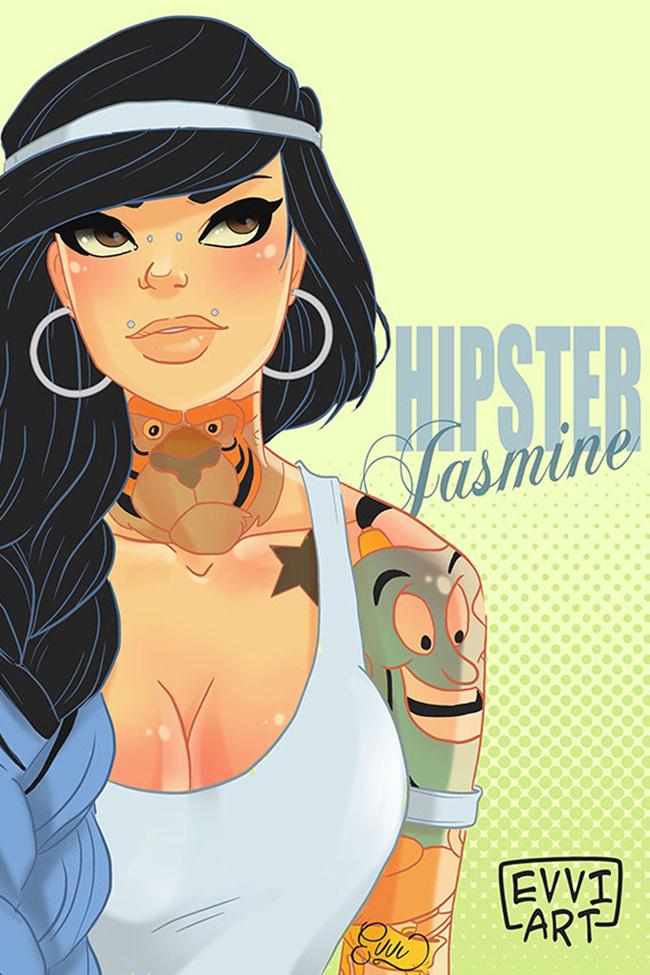 dizni princeza jasmin hipster ilustracija Diznijeve princeze su postale hipsterke