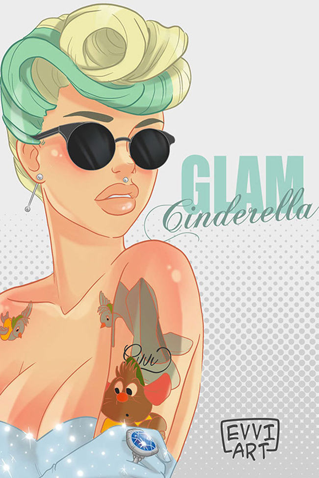 dizni princeza pepeljuga hipster ilustracija Diznijeve princeze su postale hipsterke