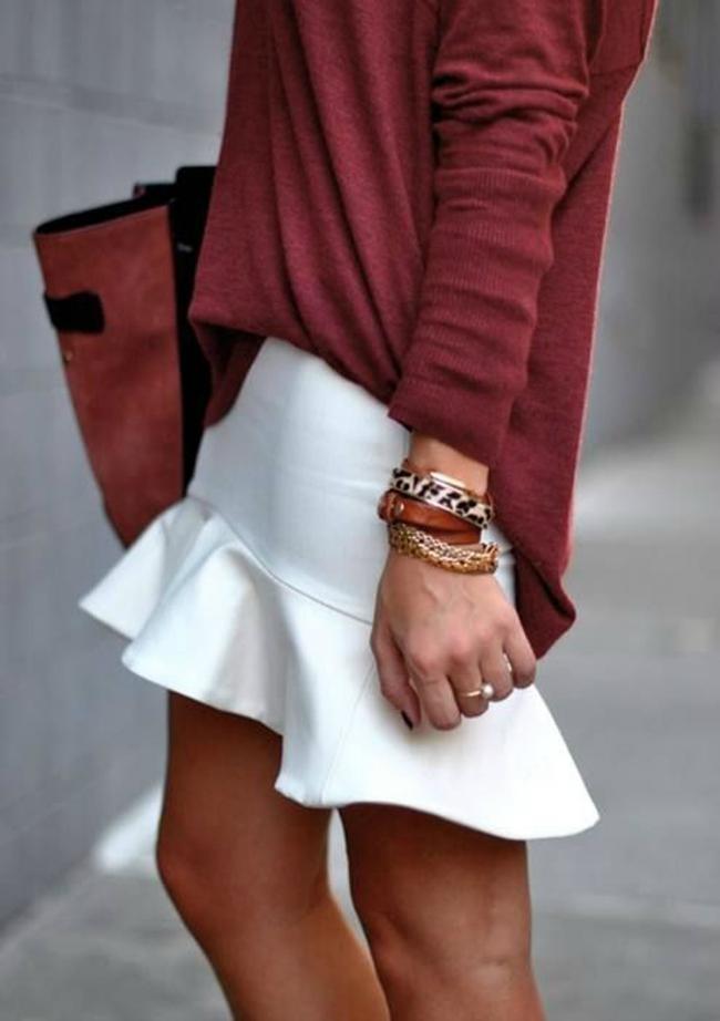 Bordo Šta obući ove nedelje: Džemper i suknja