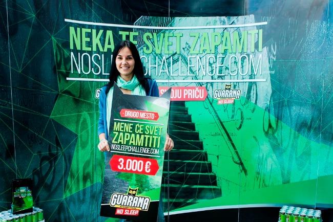 No Sleep Chalenge Stanislava druga nagrada Guarana NOSLEEPCHALLENGE: Dodeljene nagrade najboljima