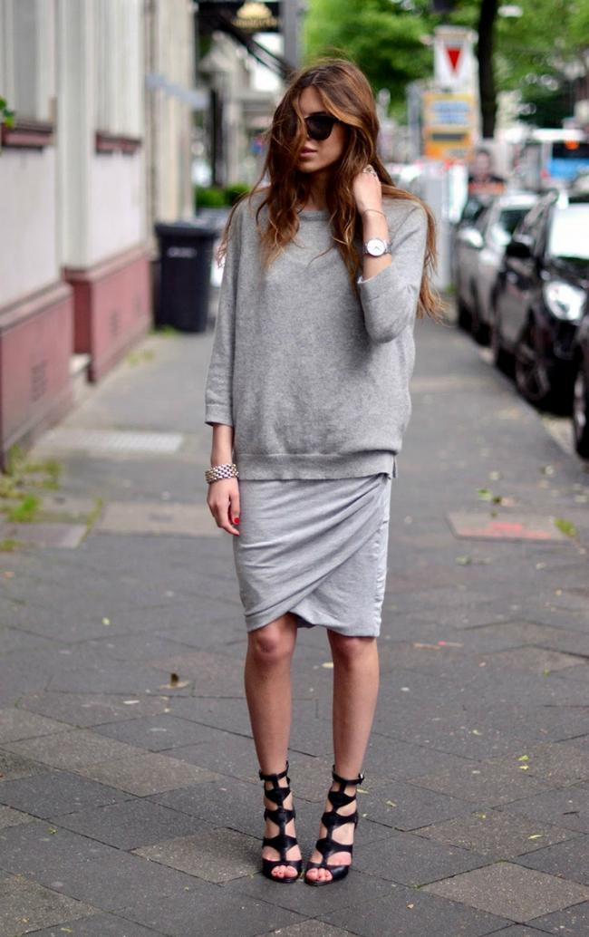 Sivo Šta obući ove nedelje: Džemper i suknja