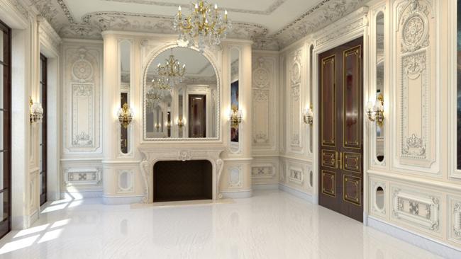 kamin u kancelariji Kuće bogatih: Najskuplja američka vila