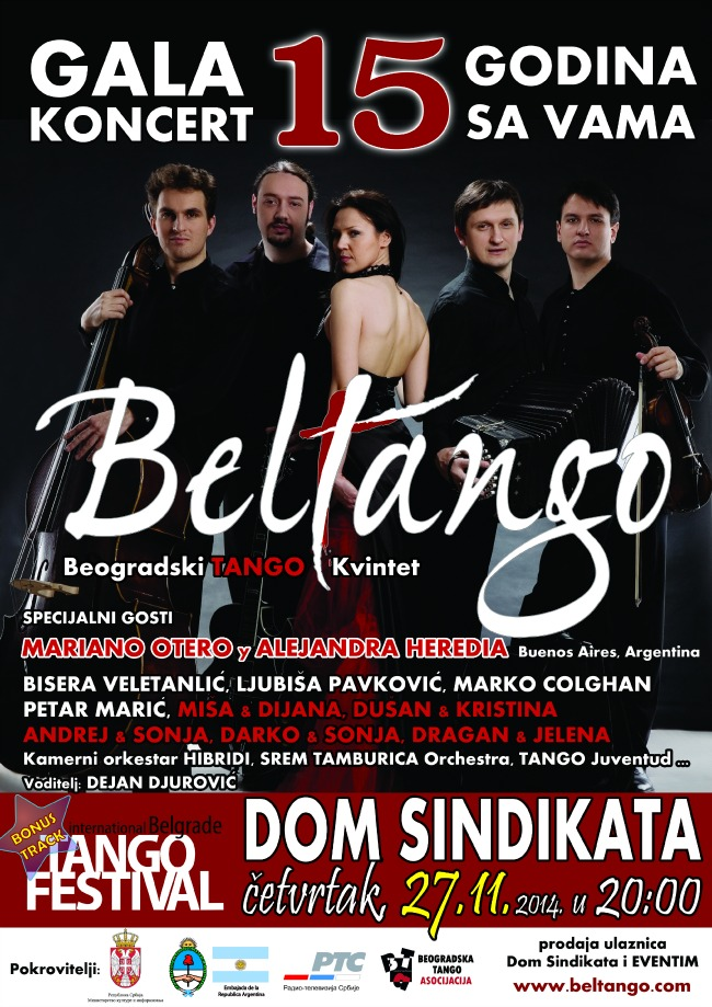 Beltango Dom sindikata A3 Beltango kvintet:  Gala koncert, 15 godina sa Vama