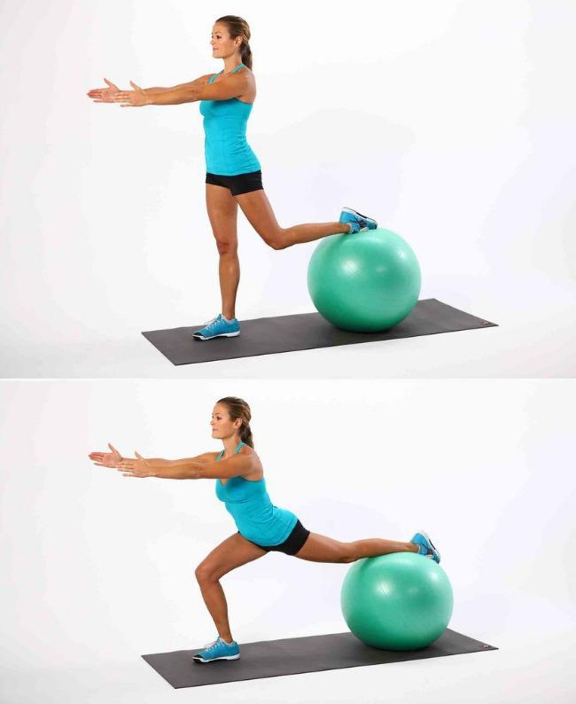 iskorak1 Jednostavne vežbe sa loptom za pilates