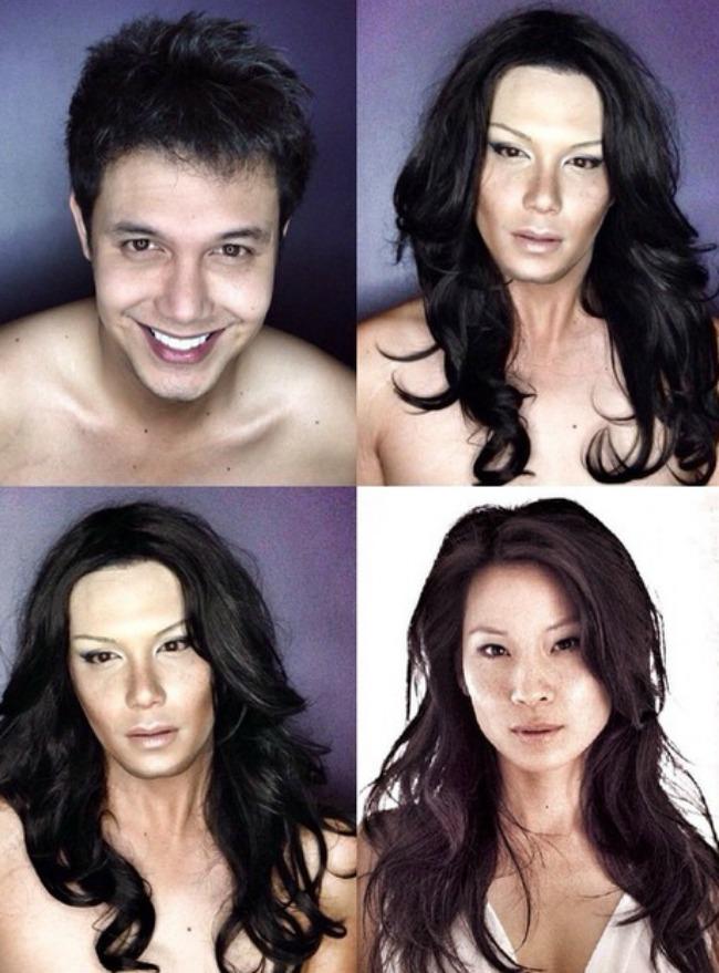Šta sve može šminka Muškarac kao ženske zvede Lusi Liu Šta sve može šminka: Muškarac kao ženske zvezde