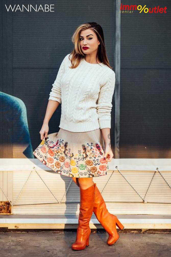 Wannabe fashion predlog Immo outlet center Wannabe blogger 43 Modni predlozi iz Immo Outlet Centra: Braon čizme na još jedan način