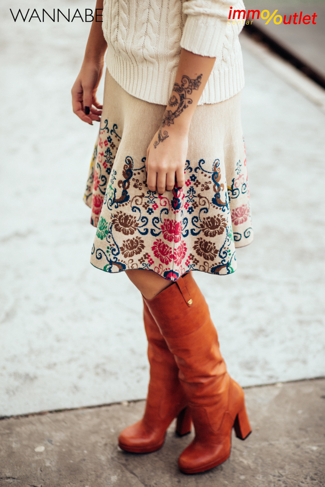 Wannabe fashion predlog Immo outlet center Wannabe blogger 47 Modni predlozi iz Immo Outlet Centra: Braon čizme na još jedan način